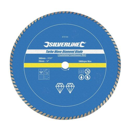 Silverline 675104 Turbo Wave Diamond Blade 300mm x 20mm Castellated Continuous Rim